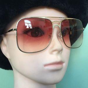 Chloe Aviator Sunglasses Color GOLD/WINE Lens